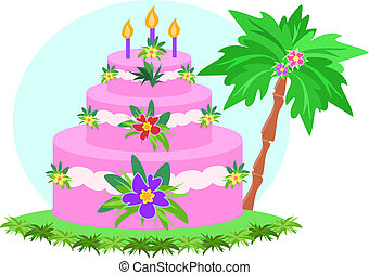 Happy Birthday Tropical Cake - Here is a colorful three ...