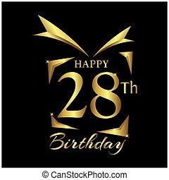 Happy Birthday twenty eight years. Elegant design with number.