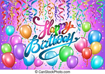 Happy Birthday typography vector design for greeting cards and poster with colorful balloon, confetti, design template for birthday celebration. pink background