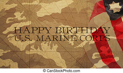 Happy Birthday US Marine Corps Flag and Camouflage