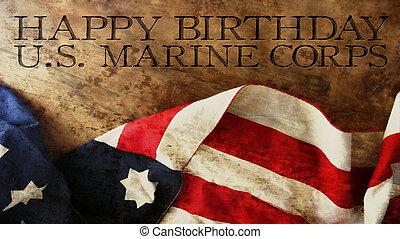Happy Birthday US Marine Corps Flag and Wood