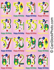 Happy Birthday Vector Card Set