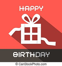 Happy Birthday Vector Card with Paper Gift Box