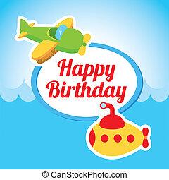 happy birthday design over sky background vector...