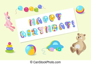 Happy Birthday vector colorful baby toy greeting card