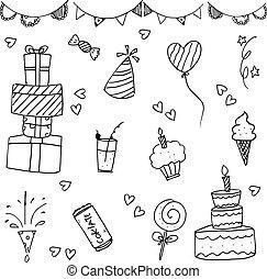 Happy birthday vector doodle hand drawn