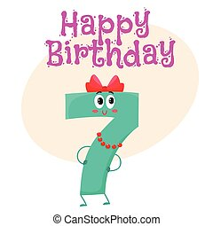 Happy birthday vector greeting card design with seven number characters
