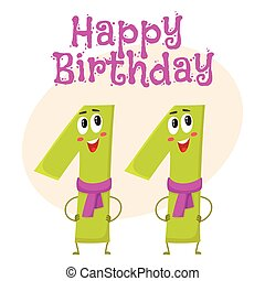 Happy birthday vector greeting card design with eleven number characters