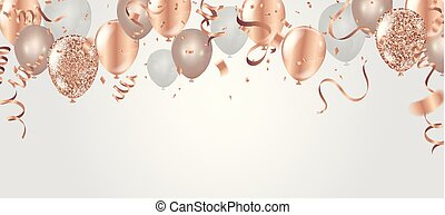 Happy birthday vector illustration. Confetti and ribbons...
