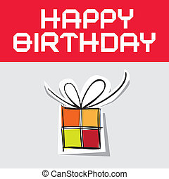 Happy Birthday Vector Illustration with Paper Gift Box
