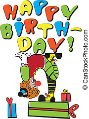 Happy Birthday! - Vector image is a clown with a lot of ...