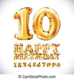 Happy birthday vector Metallic Gold Balloons English ...