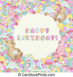Happy Birthday vector pastel baby toy illustration