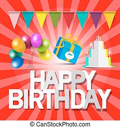Happy Birthday Vector Retro Red Card with Balloons - Gift Box - Flags and Paper Cut Cake