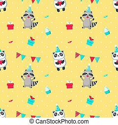 Happy birthday vector seamless pattern with cute animals