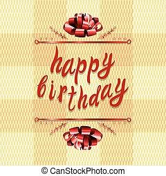 'happy, birthday', vetorial, cartão cumprimento, template:, arco, e, letras, ligado, têxtil, texture.