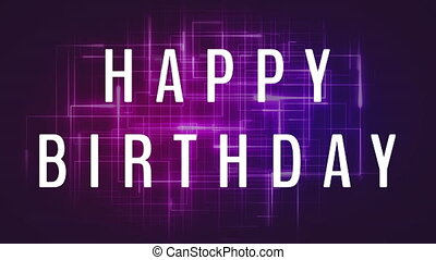 Happy Birthday Video - Happy Birthday writing against purple...