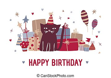 Happy birthday wish and funny cartoon black cat in party hat sitting against gifts, cupcakes, colorful balloons and festive confetti on background. Vector illustration in flat style for greeting card.