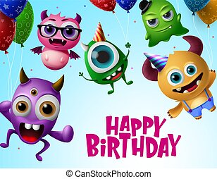 Happy birthday with monster characters vector design.