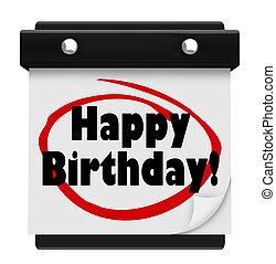 Happy Birthday Words Wall Calendar Surprise Celebrate
