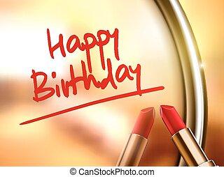 happy birthday words written by red lipstick on glossy ...