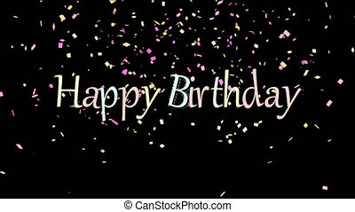 Happy Birthday Banner With Confetti Background Animation For Birthday Party 4k Video