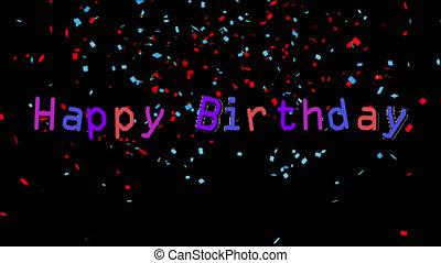 Happy Birthday written on black background with confetti