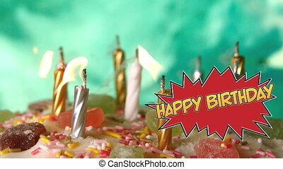 Happy Birthday written on speech bubble