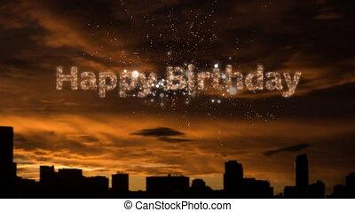 Happy Birthday written with white fireworks