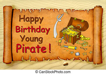 Happy birthday young pirate card with a treasure chest on a...