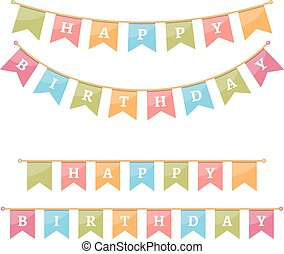 Happy Bithday Bunting - Bunting for happy birthday on white...