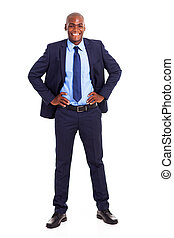 happy black businessman in suit isolated
