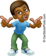 Happy Black Cartoon Boy Child Kid Pointing