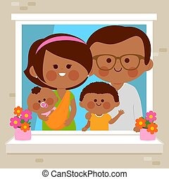 African American husband, wife and children in their home at an apartment building looking out of a window. Vector illustration