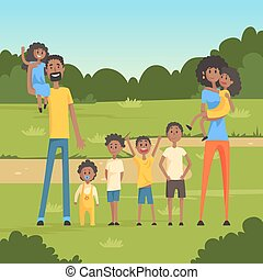Happy black family with many children in the park flat vector illustration