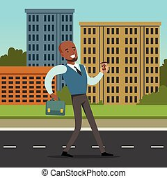 Happy black man in formal clothing walking down the street with blue briefcase. Background with city buildings and green bushes. Flat vector