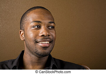 Happy black man - Portrait of a handsome young black man ...