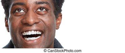 Happy black man smile.