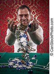 Happy Blackjack Winner, Money - A man wearing glasses, a...