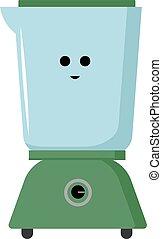 Happy blender, illustration, vector on white background.