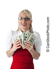 Happy blond business woman in red with money