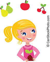 Happy blond gardener girl in pink costume. Vector Illustration.