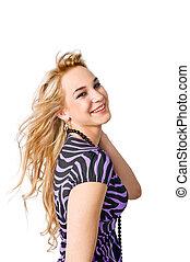 Happy blond girl on white