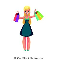Happy blond girl, woman holding shopping bags, holiday sale concept