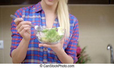 Happy Blond Woman Eating Healthy Vegetable Salad