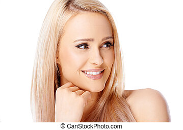 Happy blond woman smiling