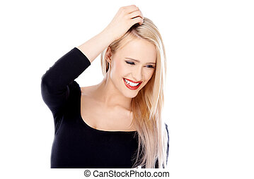 Happy Blond Woman Wearing Black Long Sleeve Shirt - Close up...