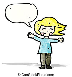 happy blond woman with speech bubble