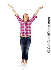 Happy blonde woman standing with hands up