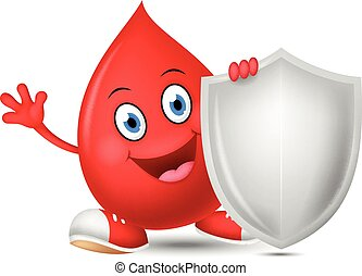 Happy blood cartoon with shield